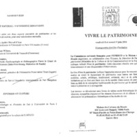 "Programme-invitation au colloque ""Vivre le patrimoine"" (2001, Paris, France)"