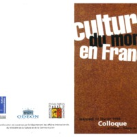 "Programme du colloque "" Cultures du monde en France"" (1999 ; Paris, France)"